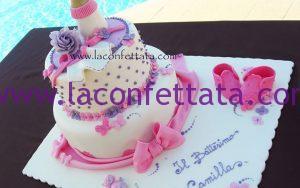 torta a piani originale battesimo, torta battesimo elegante