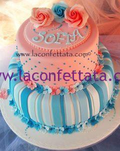 torta comunione a piani, torta in pasta di zucchero