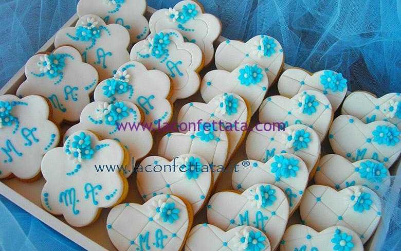 Decorazioni Matrimonio Azzurro : Biscotti matrimonio bianco decorazioni azzurro u la confettata