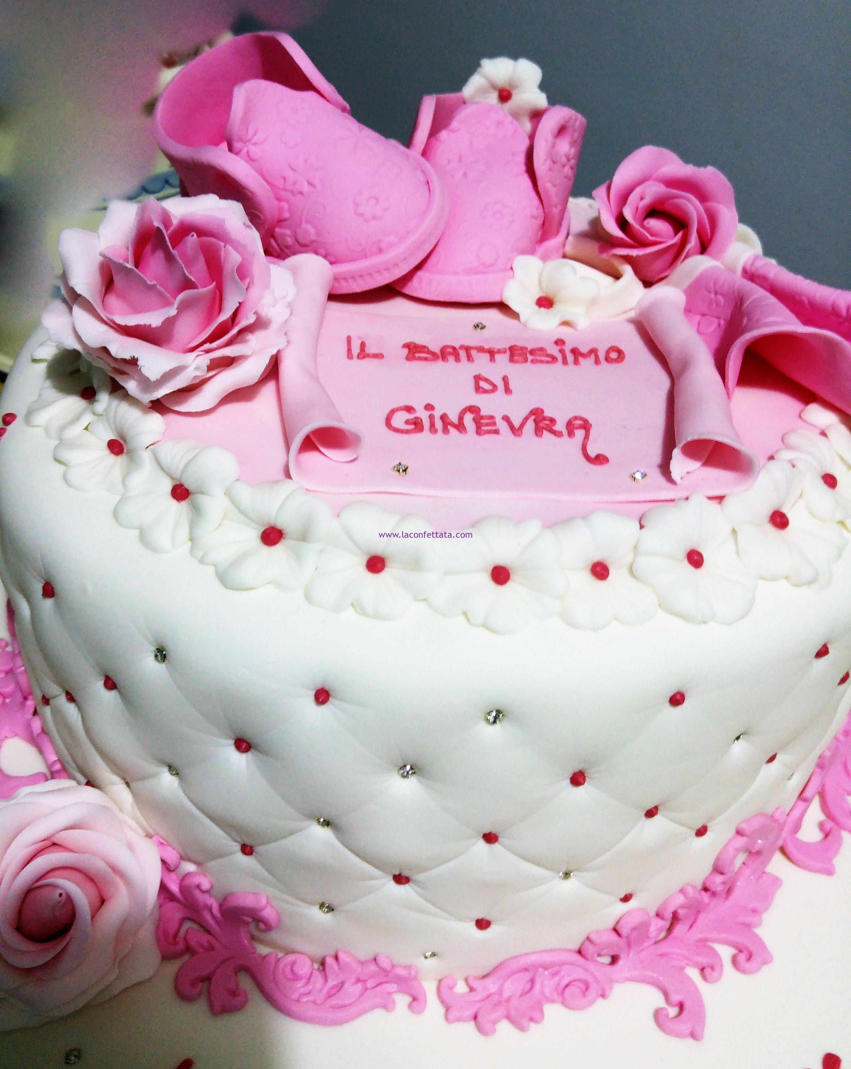 torta rosa battesimo