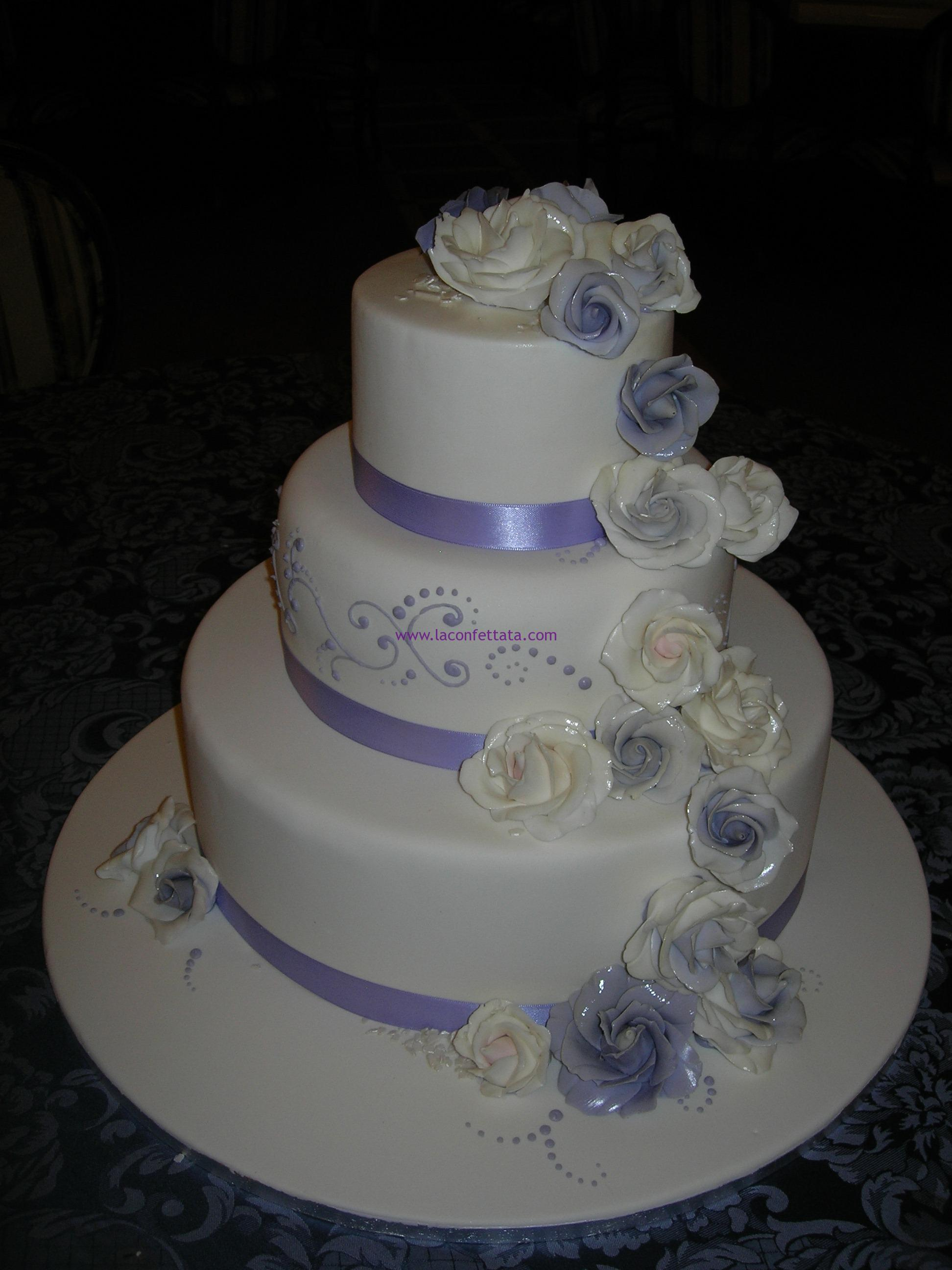 torta matrimonio bianca e glicine
