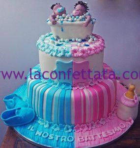 Torta rosa e celeste gemelli per Battesimo