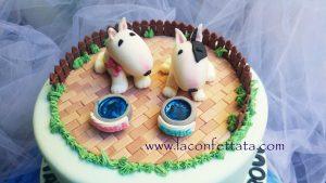 torta bull terrier, torta con cani