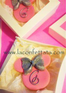 biscotti decorati minnie, biscotti battesimo minnie, battesimo elegante