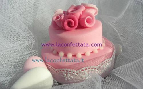 mini-cake-matrimonio-segnaposto-rosa-roselline-merletto