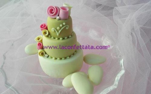 mini-cake-matrimonio-segnaposto-tre-toni-verde-strass-roselline-bicolore