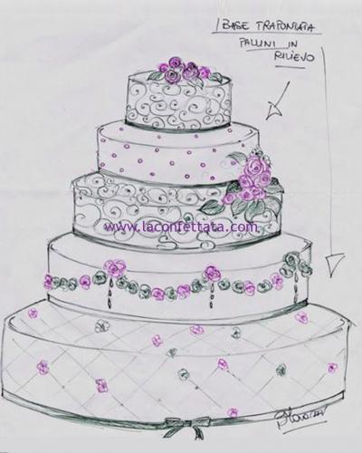 torta-matrimonio-5-piani-verde-bozzetto